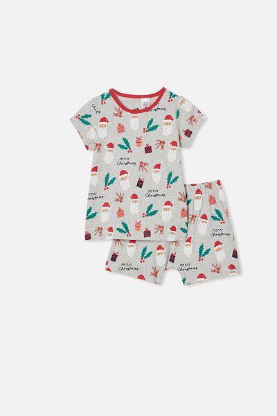 Hudson Short Sleeve Pyjama Set, SANTA FACE / SUMMER GREY MARLE