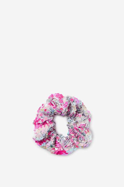 Bow Scrunchie, PINK/SILVER SEQUIN