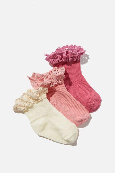 3Pk Baby Socks, PINK BRODERIE FRILL