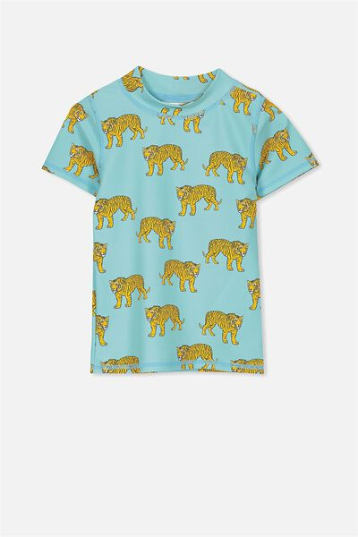 Finley Short Sleeve Rash Vest, SHELL BLUE/TIGERS
