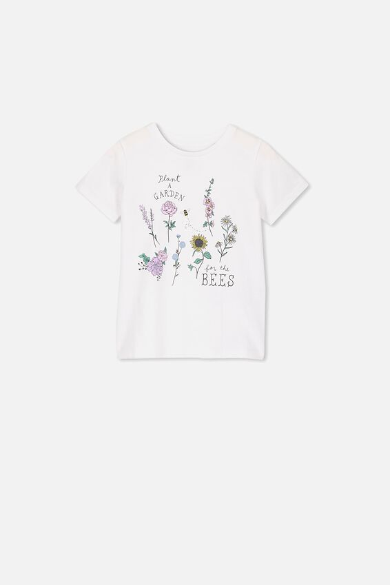 Penelope Short Sleeve Tee, WHITE/PLANT A GARDEN FOR THE BEES