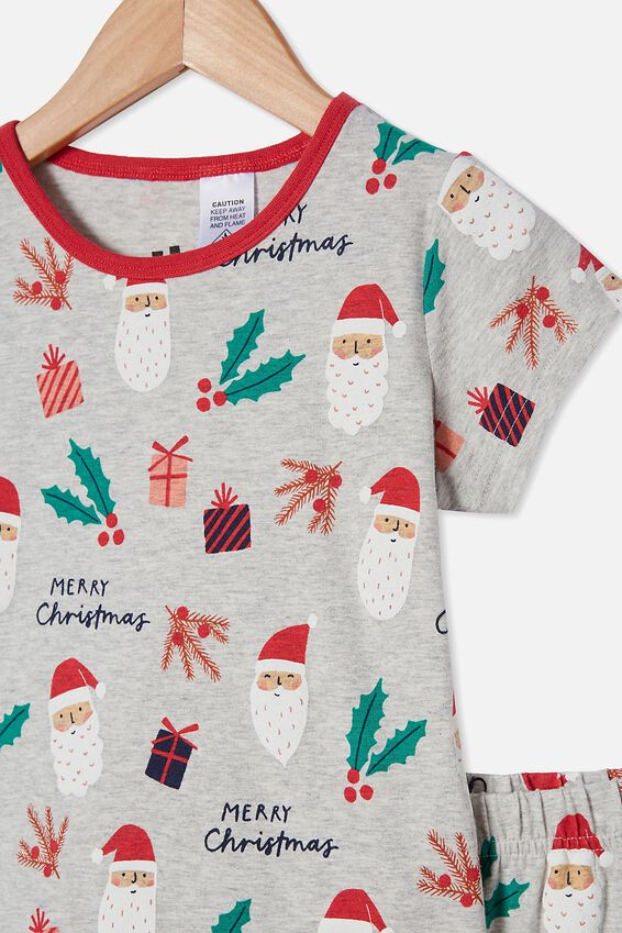 Hudson Short Sleeve Pyjama Set, SANTA FACE / SUMMER GREY MARLE