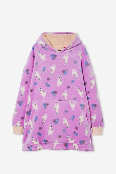 Snugget Adults Oversized Hoodie, FLORAL LLAMA/PALE VIOLET
