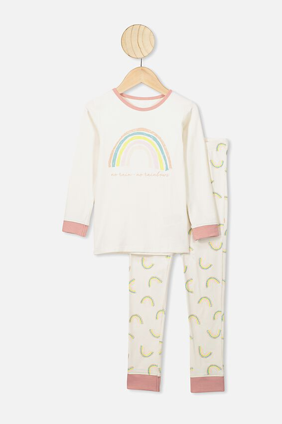 Ruby Long Sleeve Girls Pyjamas, DARK VANILLA/NO RAIN NO RAINBOWS