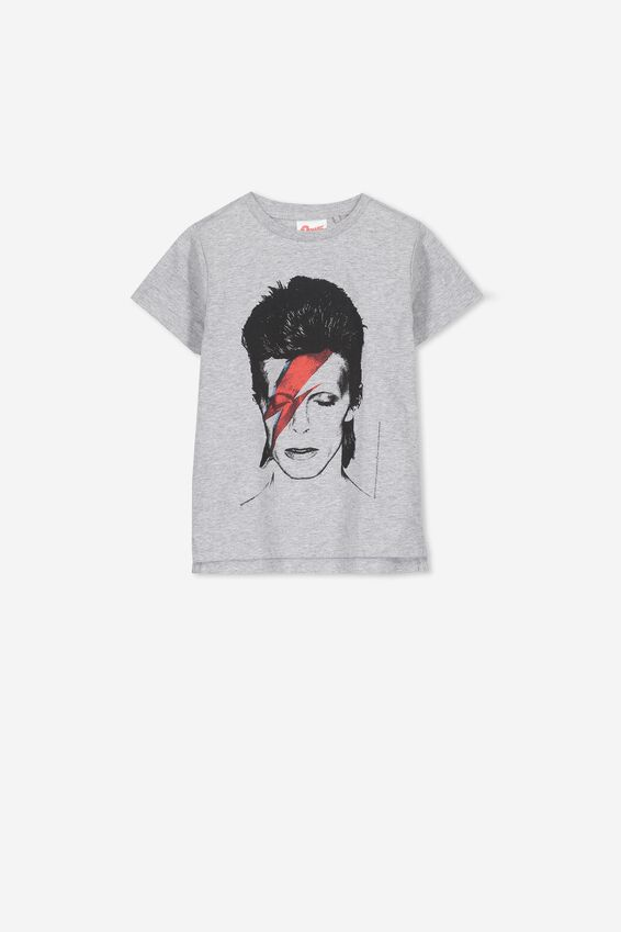 Short Sleeve License1 Tee, LIGHT GREY MARLE/BOWIE FACE 2