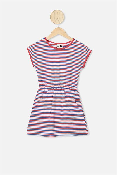 Sigrid Short Sleeve Dress, LUCKY RED MULTI STRIPE