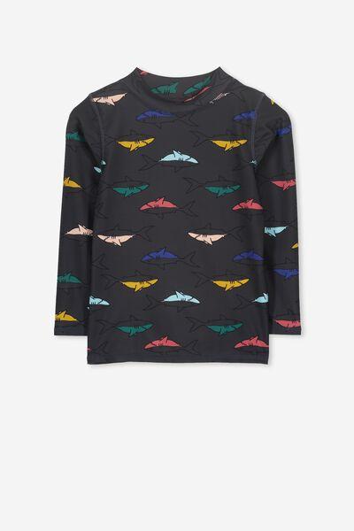Fraser Long Sleeve Rash Vest, GRAPHITE GREY/SHARKS