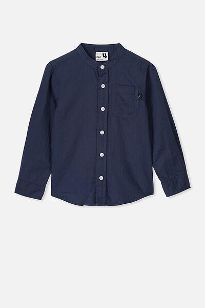 Grandpa Collar Prep Shirt, NAVY SELF TEXTURE