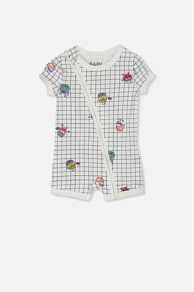 Mini Ss Zip Through Romper, VANILLA/GRID MONSTER