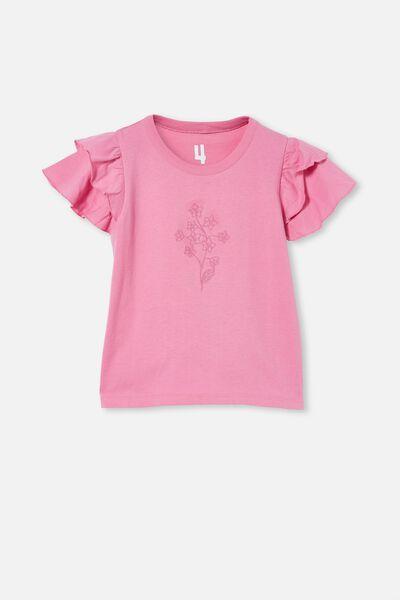 Fleur Flutter Sleeve Top, PINK GERBERA/FLORAL