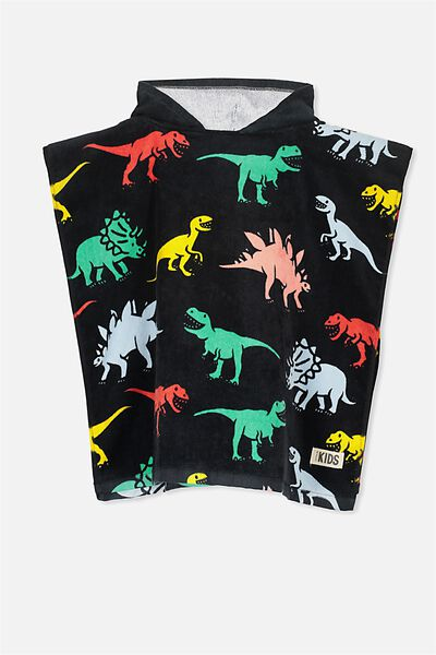Kids Hooded Towel, DARK DINO
