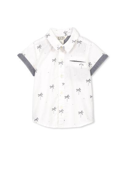 Zac Short Sleeve Shirt, VANILLA/PALM TREE