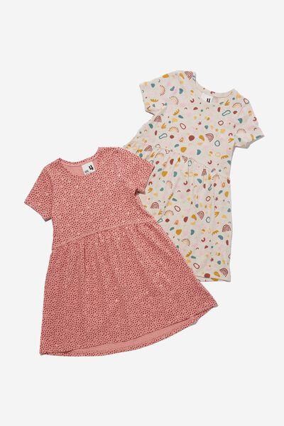 Girls Multipack Short Sleeve Dresses 2 Pack, MUSK ROSE ABSTRACT PACK