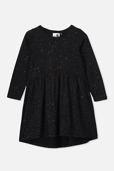 Freya Long Sleeve Dress, BLACK/HOLOGRAPHIC SPECKLE