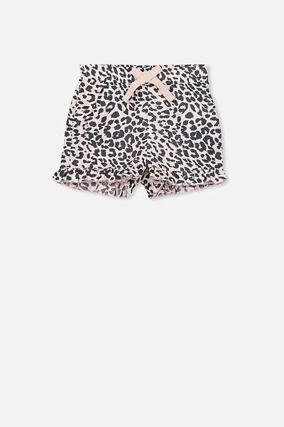 Girls Pyjama Short, PINK ANIMAL STRIPE