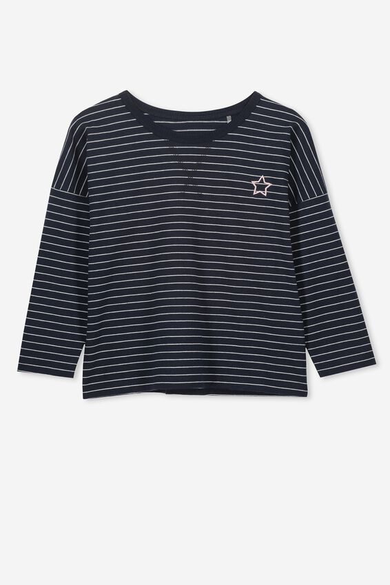 Kit Long Sleeve Top, INDIAN INK/WHITE STRIPE/STAR