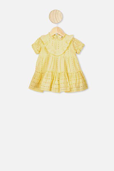 Layla Flutter Sleeve Dress, PASTEL LEMON
