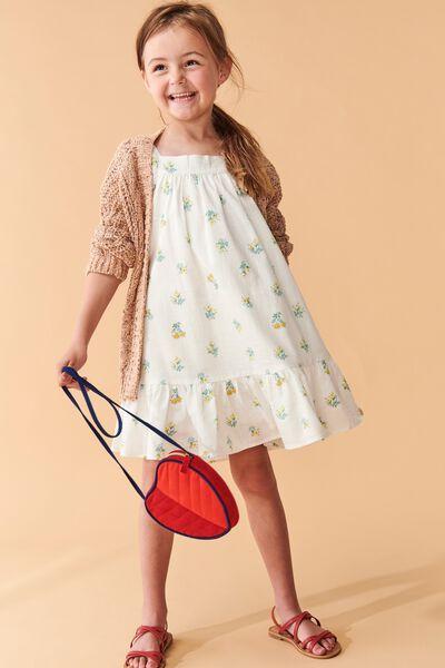 Aimee Short Sleeve Dress, VANILLA POSEY FLORAL