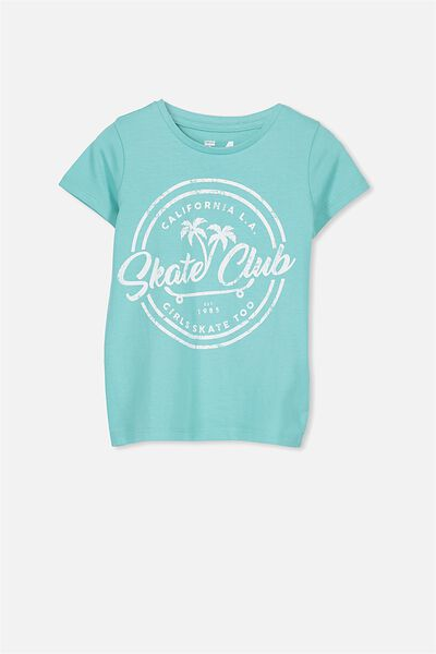 Penelope Short Sleeve Tee, TURQUOISE/SKATE CLUB/SET IN