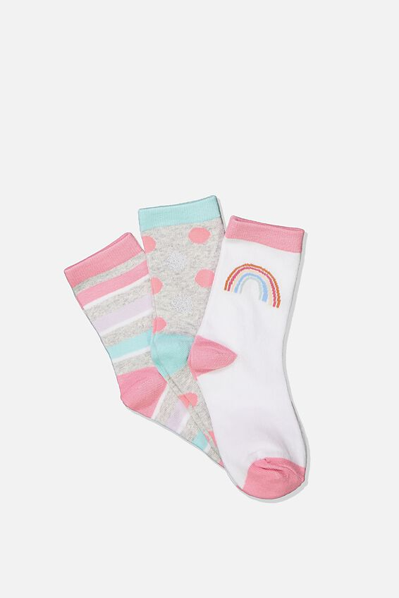 Kids 3Pk Crew Socks, SWEET BLUSH RAINBOW
