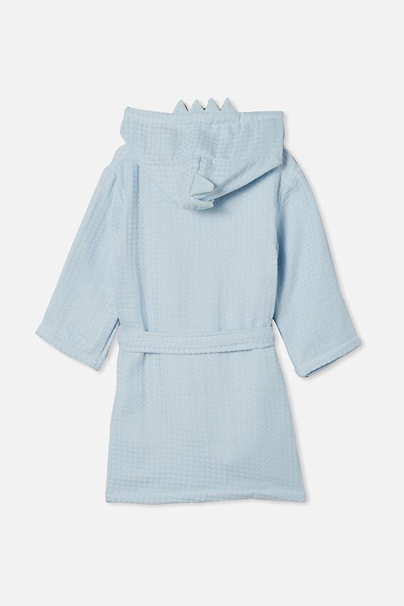 Boys Long Sleeve Gown, FROSTY BLUE DINOSAUR