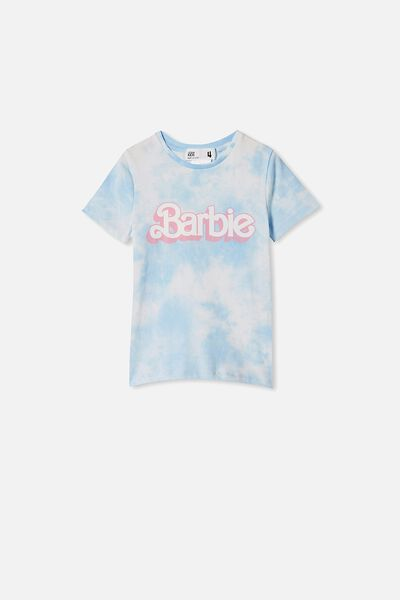 License Short Sleeve Tee, LCN MAT DUSTY BLUE TIE DYE/BARBIE LOGO