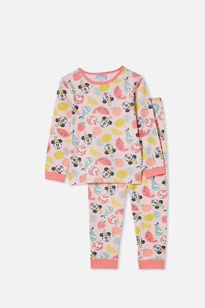 Florence Long Sleeve Pyjama Set Licensed, LCN DIS MINNIE FRUIT / CRYSTAL PINK