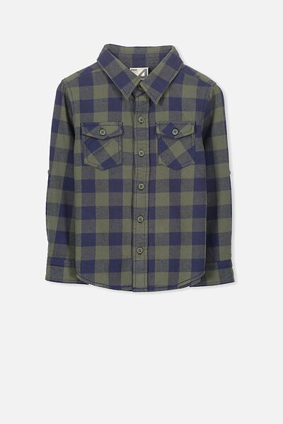 Noah Long Sleeve Shirt, CLIVE GREEN CHECK