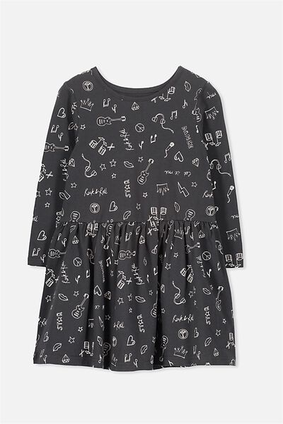 Lani Long Sleeve Dress, PHANTOM/ROCK N ROLL