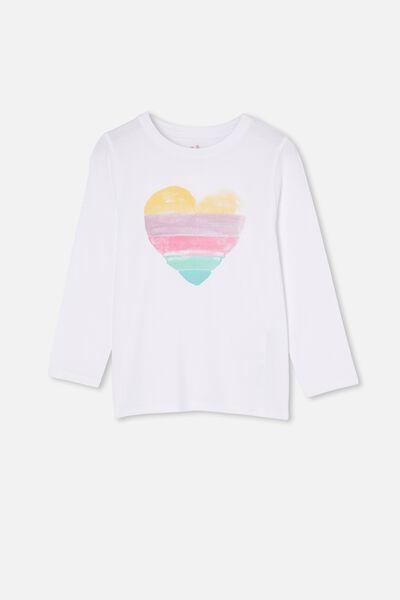Gold Print on White Youth T-Shirt Heart Logo Girl Power
