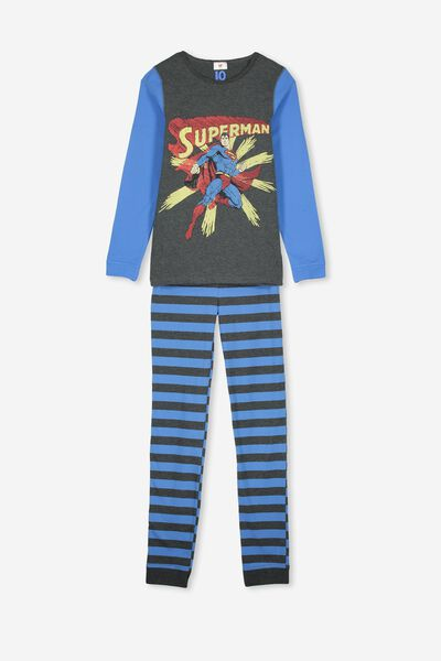 Harrison Long Sleeve Boys Pyjamas, LCN WB SUPERMAN DARK GREY