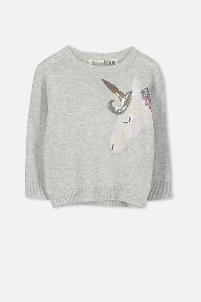 Nancy Knit Jumper, SILVER MARLE/SEQUIN UNICORN