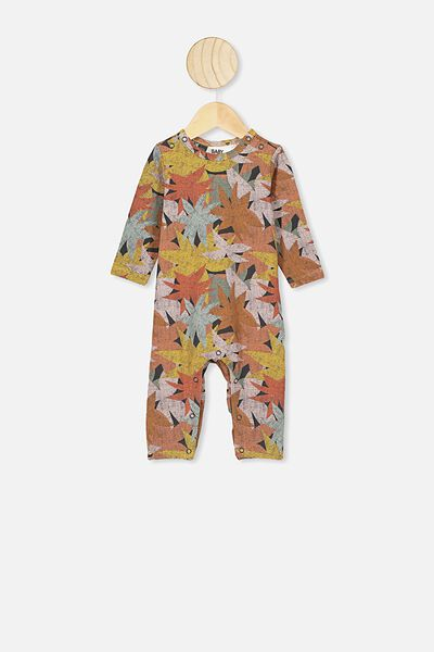 The Long Sleeve Snap Romper, LCN WB SOUTHERN/WILD THINGS