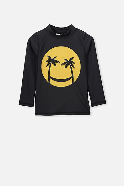 Flynn Long Sleeve Rash Vest, VINTAGE BLACK/SMILEY