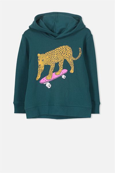 Scarlett Hoodie, SHADED SPRUCE SKATING LEOPARD/SET IN SLEEVE