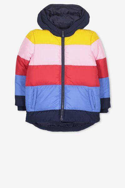 Jemima Puffer Jacket, RAINBOW PANEL