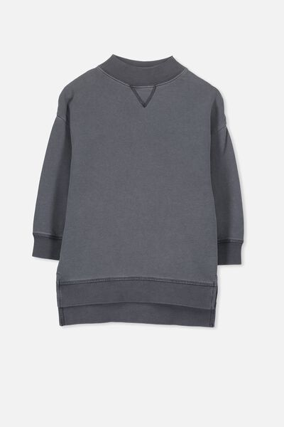 Olivia Oversize High Neck Fleece Top, PHANTOM
