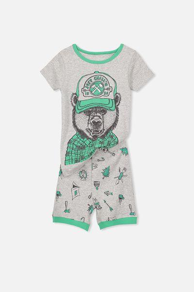 Joshua Boys Short Sleeve Pyjama Set, CHILLIN BEAR