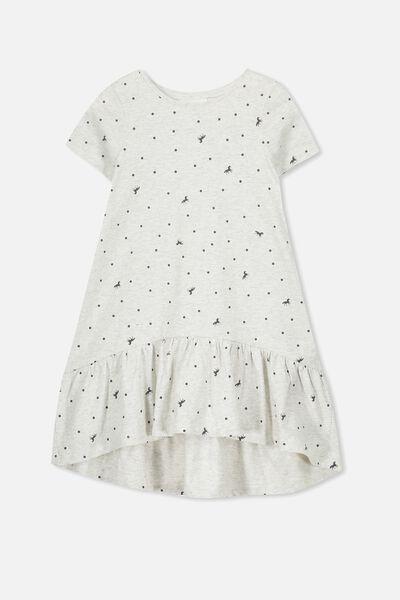 Joss Short Sleeve Dress, SUM GREY MARLE/UNICORN SPOT