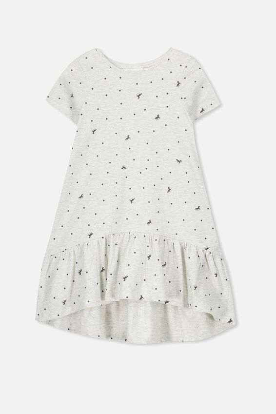 Joss Short Sleeve Dress, SUM GREY MARLE/UNICORN SPOT