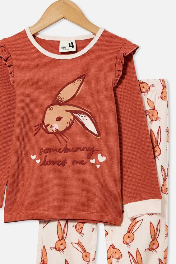 Edith Long Sleeve Pyjama Set, SOME BUNNY/CHUTNEY