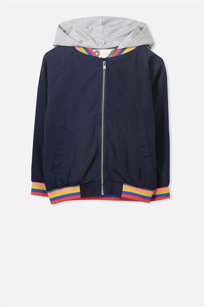 Gemma Hooded Jacket, PEACOAT/COLOUR BLOCK
