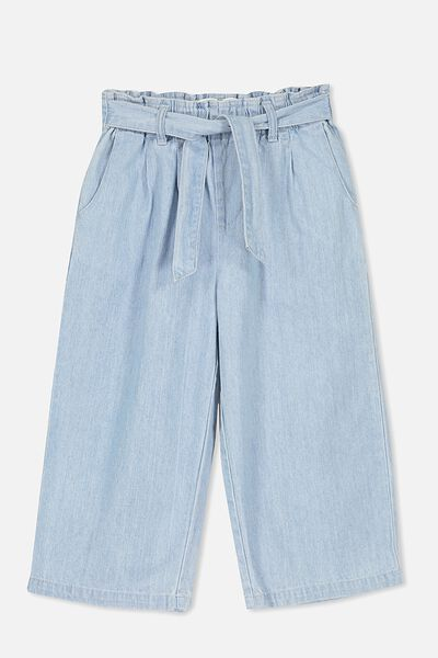 Isla Wide Leg Crop Pant, BLEACHWASH