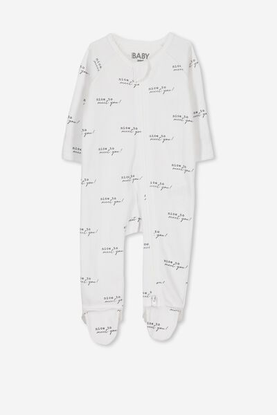 Newborn Long Sleeve Zip Through Romper, WHITE/NICE TO MEET YOU
