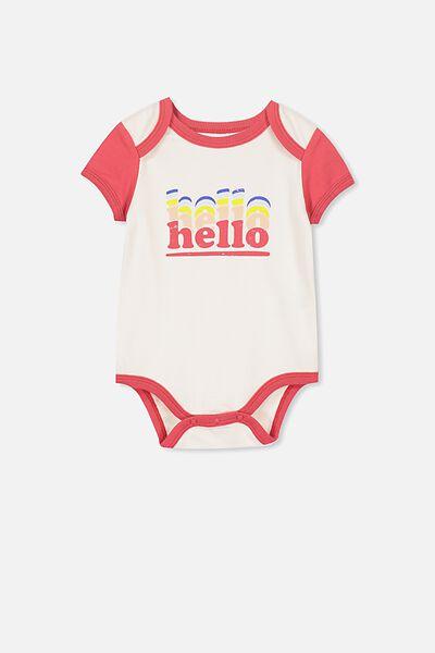 Mini Short Sleeve Bubbysuit, DARK VANILLA/HELLO