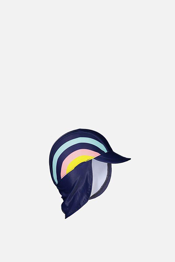 Newborn Sonny Swim Hat, PEACOAT BLUE/RAINBOW