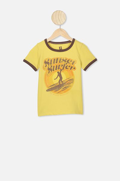 Max Short Sleeve Tee, CORN SILK/SUNSET SURFERS