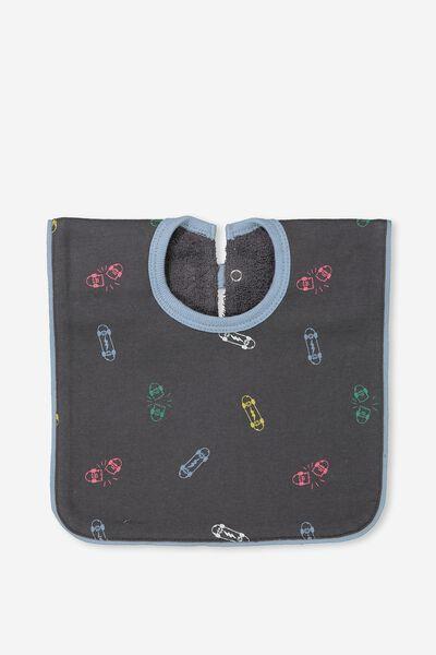 Hansel And Gretel Babies Bib, GRAPHITE GREY/COLOURFUL SKATEBOARDS