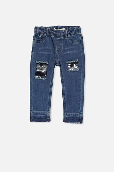 Juliet Sequin Jean, DARK BLUE/BLUE SEQUINS