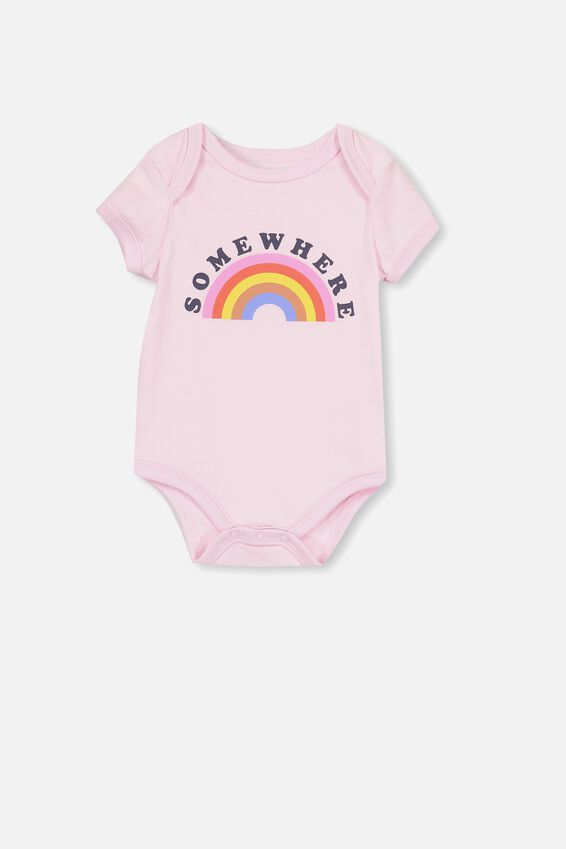 Mini Short Sleeve Bodysuit, CRADLE PINK/SOMEWHERE